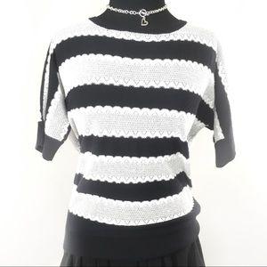 White House Black Market Black/white stripe top-L